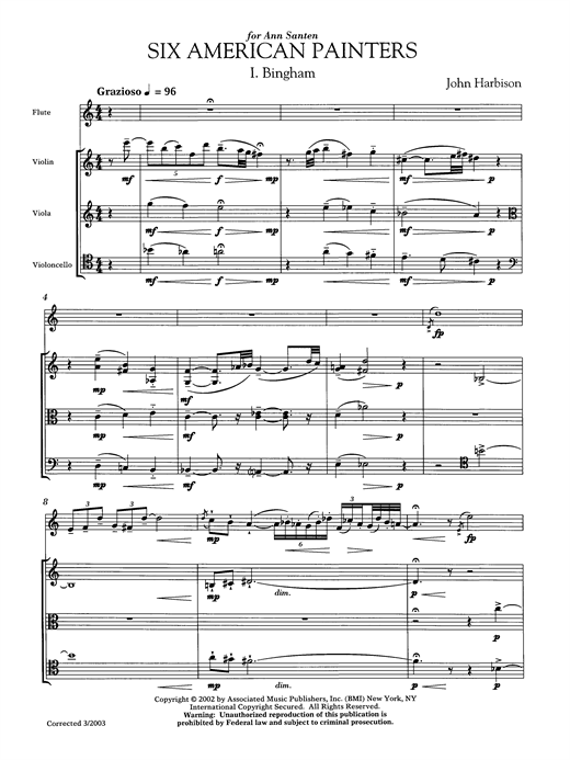 Download John Harbison 'Six American Painters (flute version)' Digital Sheet Music Notes & Chords and start playing in minutes