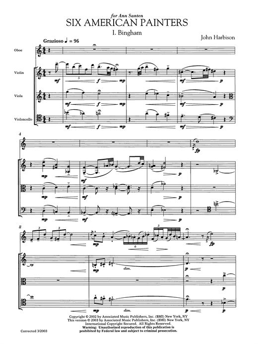 Download John Harbison 'Six American Painters (oboe version)' Digital Sheet Music Notes & Chords and start playing in minutes