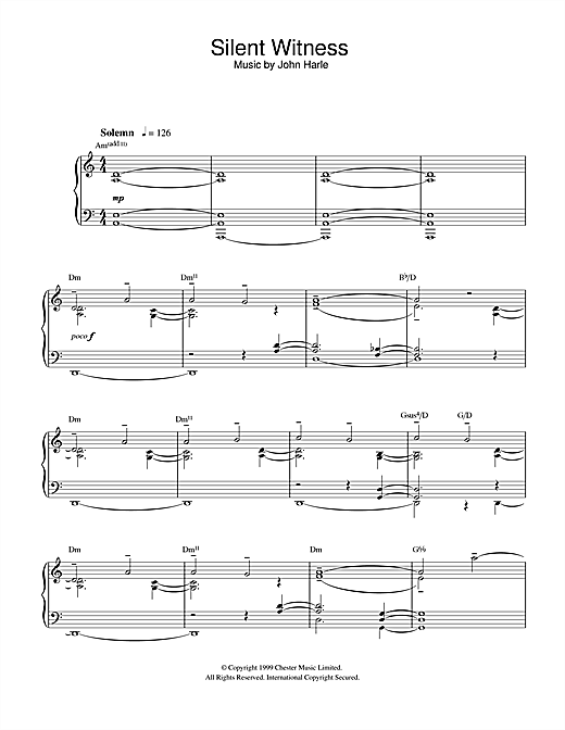 John Harle Silent Witness sheet music notes and chords