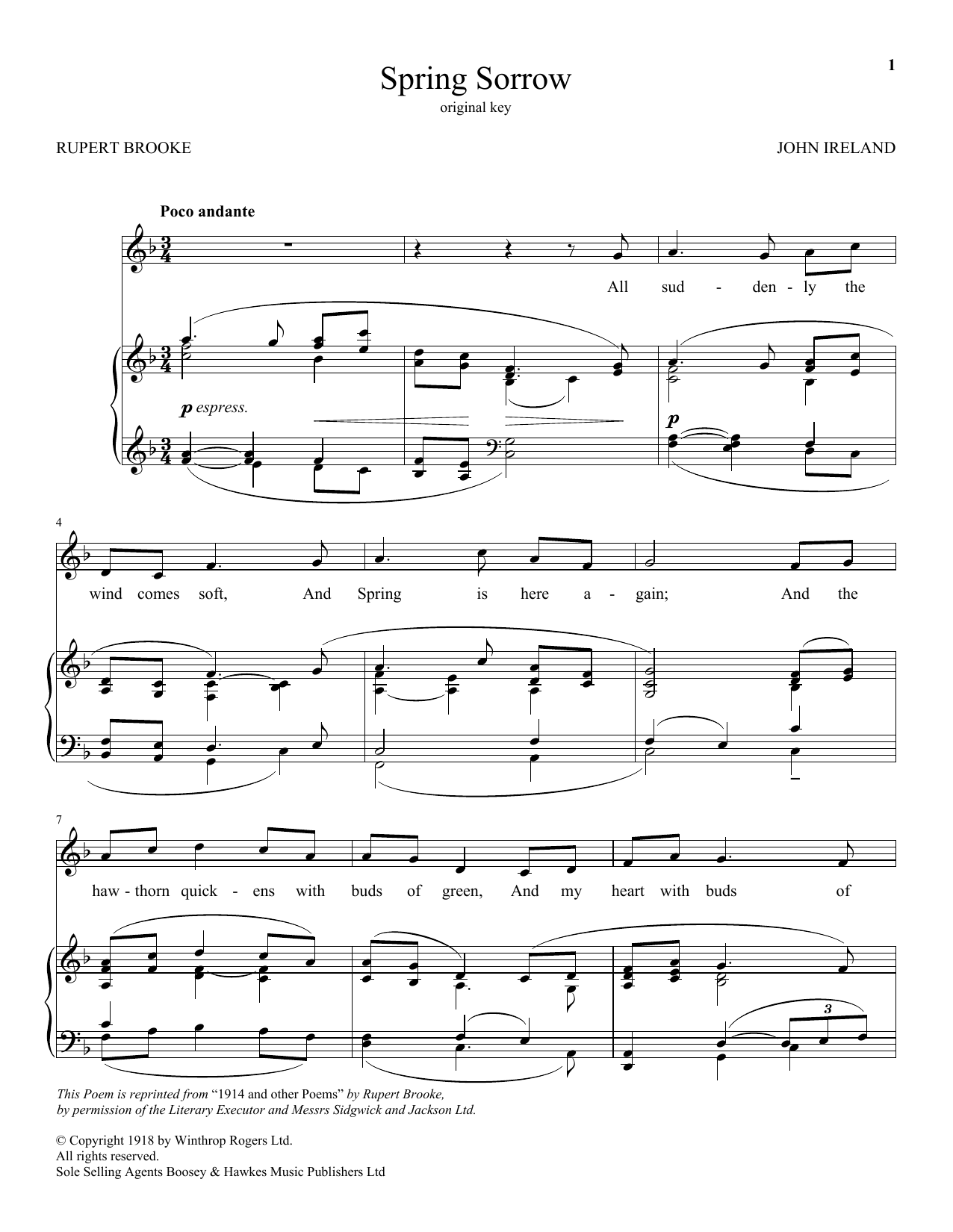 John Ireland Spring Sorrow sheet music notes and chords