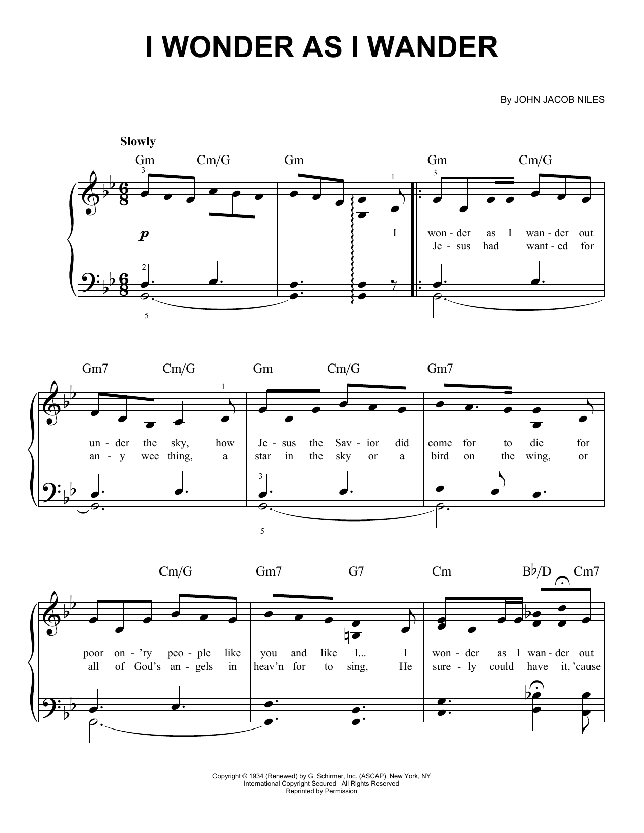 Download John Jacob Niles 'I Wonder As I Wander' Digital Sheet Music Notes & Chords and start playing in minutes