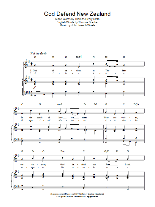 John Joseph Woods God Defend New Zealand (New Zealand National Anthem) sheet music preview music notes and score for Piano, Vocal & Guitar (Right-Hand Melody) including 2 page(s)