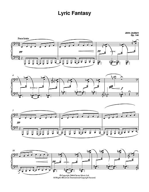 Download John Joubert 'Lyric Fantasy' Digital Sheet Music Notes & Chords and start playing in minutes
