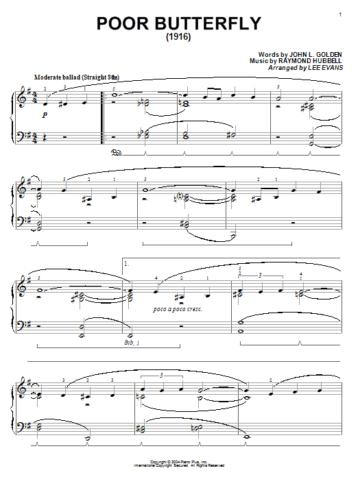 Download John L. Golden 'Poor Butterfly' Digital Sheet Music Notes & Chords and start playing in minutes