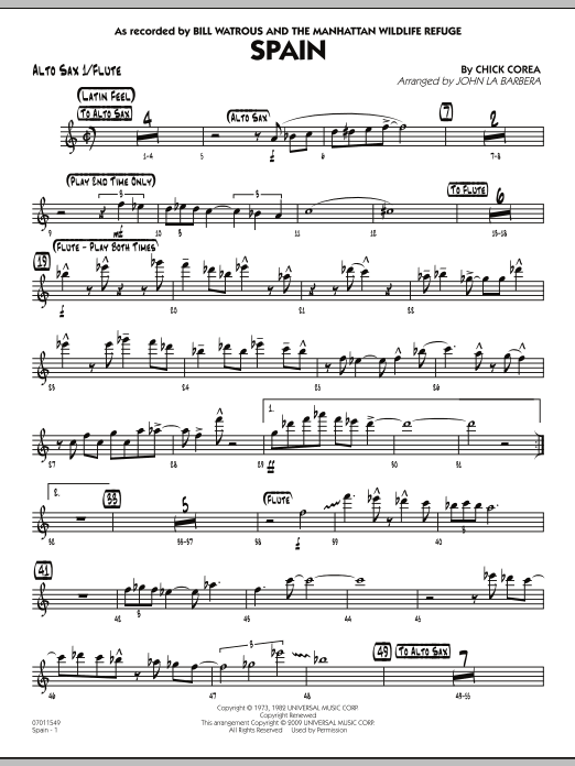 John La Barbera Spain - Alto Sax 1/Flute sheet music preview music notes and score for Jazz Ensemble including 3 page(s)