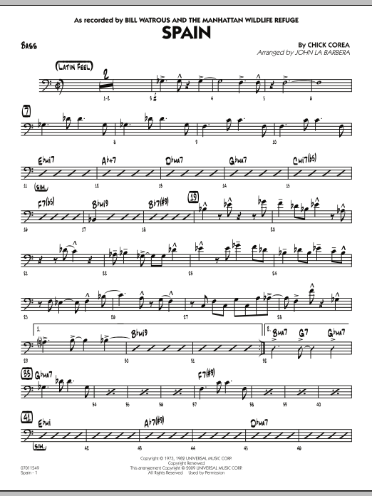 John La Barbera Spain - Bass sheet music preview music notes and score for Jazz Ensemble including 3 page(s)