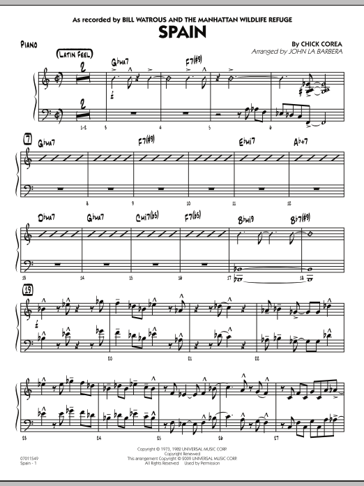 John La Barbera Spain - Piano sheet music preview music notes and score for Jazz Ensemble including 4 page(s)