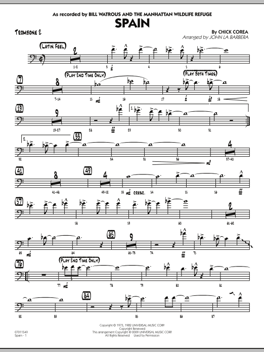 John La Barbera Spain - Trombone 2 sheet music preview music notes and score for Jazz Ensemble including 2 page(s)