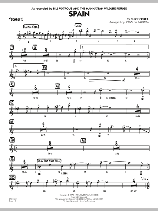John La Barbera Spain - Trumpet 2 sheet music preview music notes and score for Jazz Ensemble including 2 page(s)