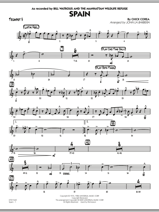 John La Barbera Spain - Trumpet 3 sheet music preview music notes and score for Jazz Ensemble including 3 page(s)