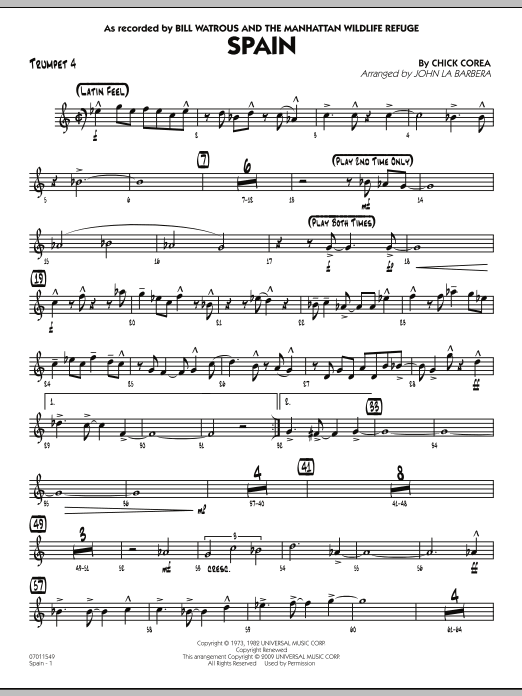 John La Barbera Spain - Trumpet 4 sheet music preview music notes and score for Jazz Ensemble including 3 page(s)