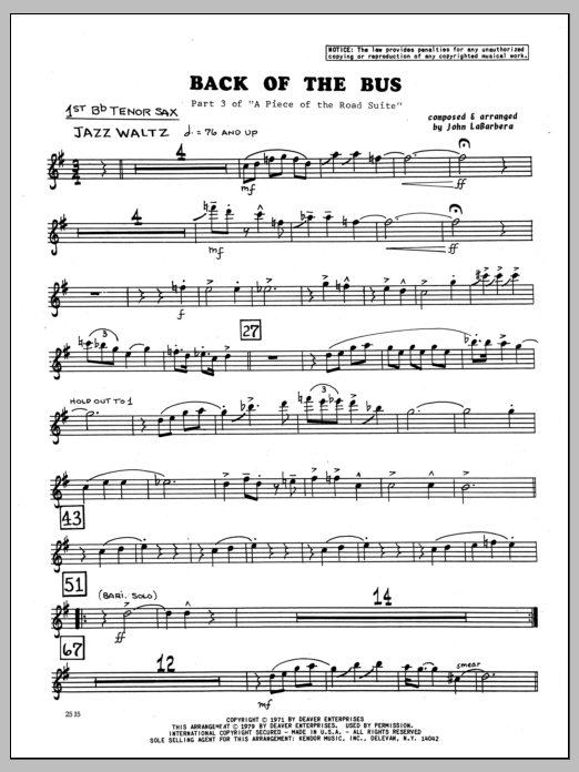 John LaBarbara Back Of The Bus - 1st Bb Tenor Saxophone sheet music preview music notes and score for Jazz Ensemble including 2 page(s)