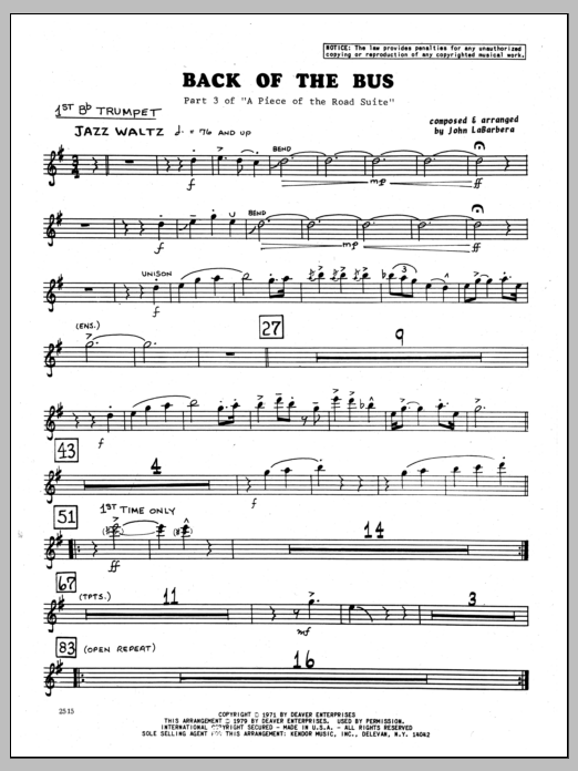 John LaBarbara Back Of The Bus - 1st Bb Trumpet sheet music preview music notes and score for Jazz Ensemble including 2 page(s)