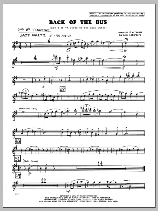 John LaBarbara Back Of The Bus - 2nd Bb Tenor Saxophone sheet music preview music notes and score for Jazz Ensemble including 2 page(s)