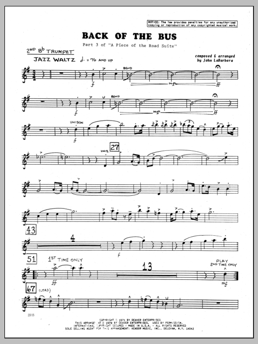 John LaBarbara Back Of The Bus - 2nd Bb Trumpet sheet music preview music notes and score for Jazz Ensemble including 2 page(s)