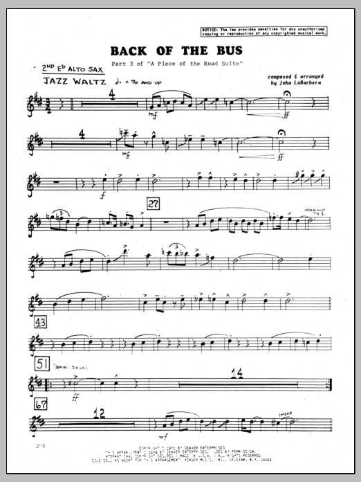 John LaBarbara Back Of The Bus - 2nd Eb Alto Saxophone sheet music preview music notes and score for Jazz Ensemble including 2 page(s)