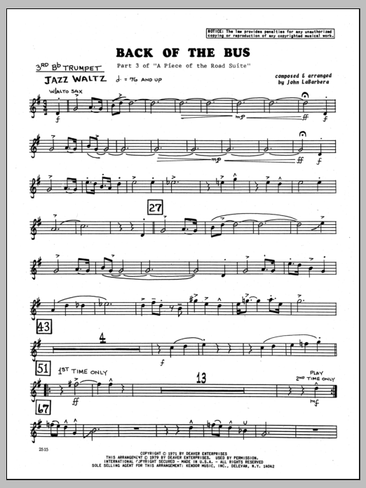 John LaBarbara Back Of The Bus - 3rd Bb Trumpet sheet music preview music notes and score for Jazz Ensemble including 2 page(s)