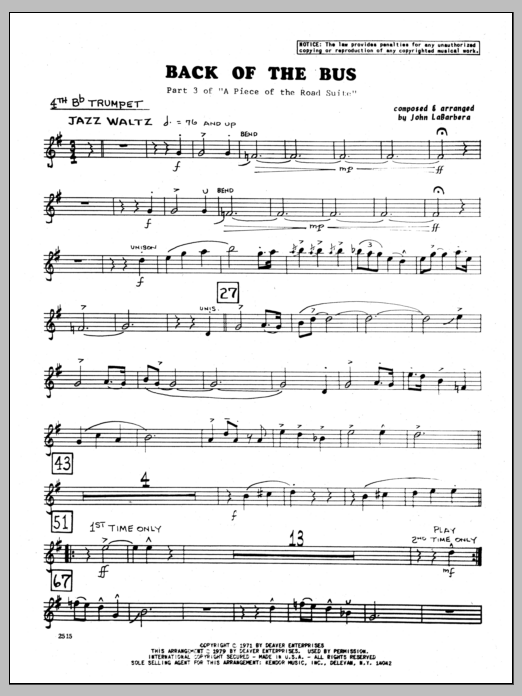 John LaBarbara Back Of The Bus - 4th Bb Trumpet sheet music preview music notes and score for Jazz Ensemble including 2 page(s)