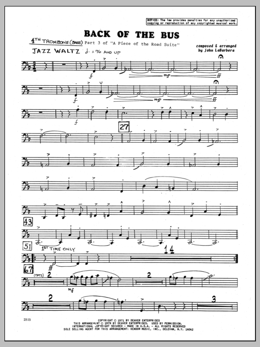 John LaBarbara Back Of The Bus - 4th Trombone sheet music preview music notes and score for Jazz Ensemble including 2 page(s)