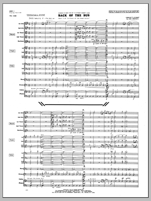 John LaBarbara Back Of The Bus - Full Score sheet music preview music notes and score for Jazz Ensemble including 10 page(s)