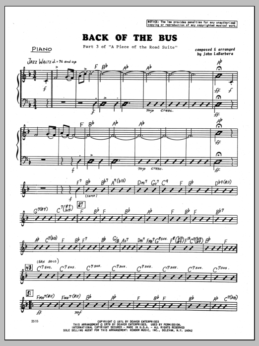 John LaBarbara Back Of The Bus - Piano sheet music preview music notes and score for Jazz Ensemble including 3 page(s)