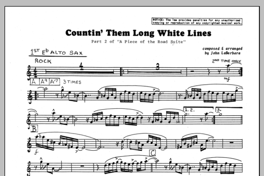 John LaBarbara Countin' Them Long White Lines - 1st Eb Alto Saxophone sheet music preview music notes and score for Jazz Ensemble including 1 page(s)