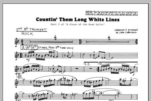 John LaBarbara Countin' Them Long White Lines - 2nd Bb Trumpet sheet music preview music notes and score for Jazz Ensemble including 1 page(s)