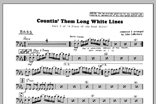 John LaBarbara Countin' Them Long White Lines - Bass sheet music preview music notes and score for Jazz Ensemble including 1 page(s)