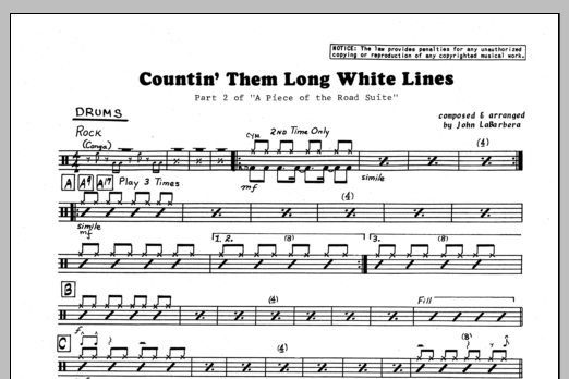 John LaBarbara Countin' Them Long White Lines - Drums sheet music preview music notes and score for Jazz Ensemble including 1 page(s)