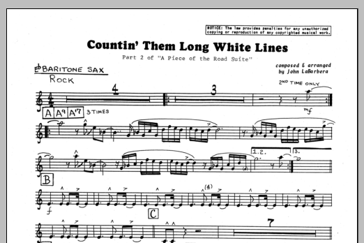 John LaBarbara Countin' Them Long White Lines - Eb Baritone Sax sheet music preview music notes and score for Jazz Ensemble including 1 page(s)