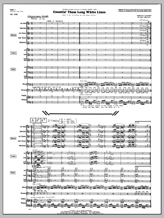 John LaBarbara Countin' Them Long White Lines - Full Score sheet music preview music notes and score for Jazz Ensemble including 6 page(s)