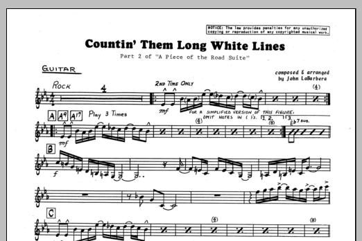 John LaBarbara Countin' Them Long White Lines - Guitar sheet music preview music notes and score for Jazz Ensemble including 1 page(s)