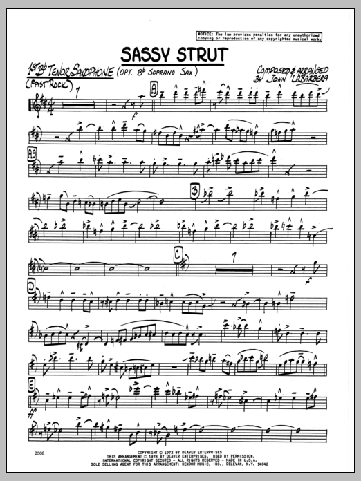 John LaBarbara Sassy Strut - 1st Bb Tenor Saxophone sheet music preview music notes and score for Jazz Ensemble including 3 page(s)