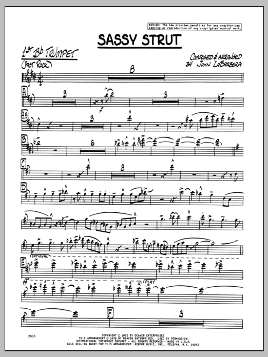 John LaBarbara Sassy Strut - 1st Bb Trumpet sheet music preview music notes and score for Jazz Ensemble including 3 page(s)