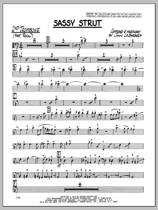 John LaBarbara Sassy Strut - 2nd Trombone sheet music preview music notes and score for Jazz Ensemble including 3 page(s)