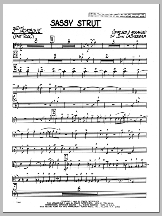 John LaBarbara Sassy Strut - 3rd Trombone sheet music preview music notes and score for Jazz Ensemble including 3 page(s)