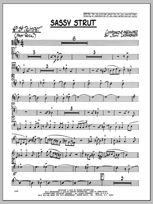 John LaBarbara Sassy Strut - 4th Bb Trumpet sheet music preview music notes and score for Jazz Ensemble including 3 page(s)