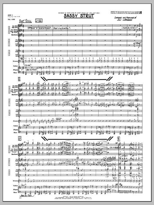 John LaBarbara Sassy Strut - Full Score sheet music preview music notes and score for Jazz Ensemble including 10 page(s)
