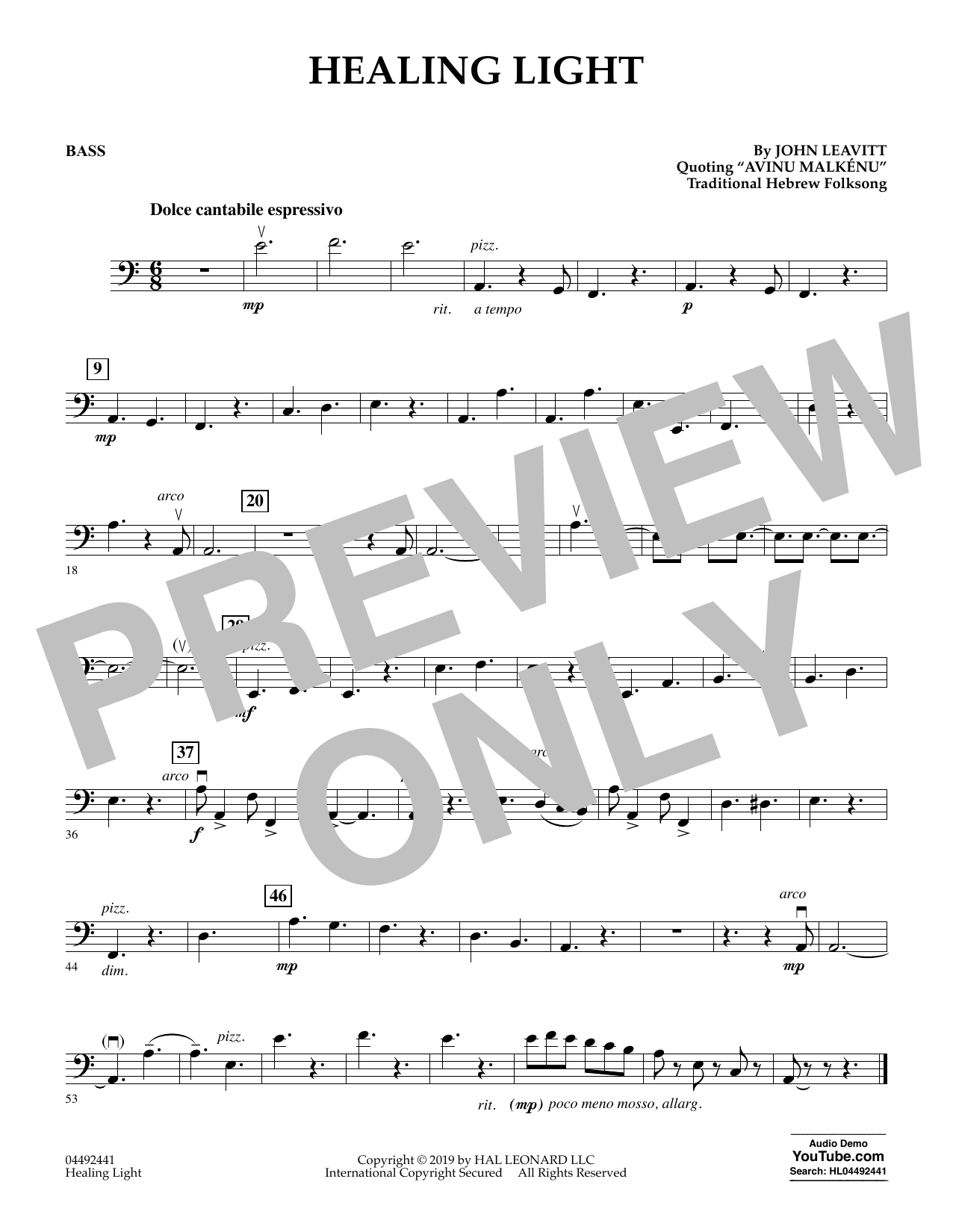 John Leavitt Healing Light - Bass sheet music preview music notes and score for Orchestra including 1 page(s)