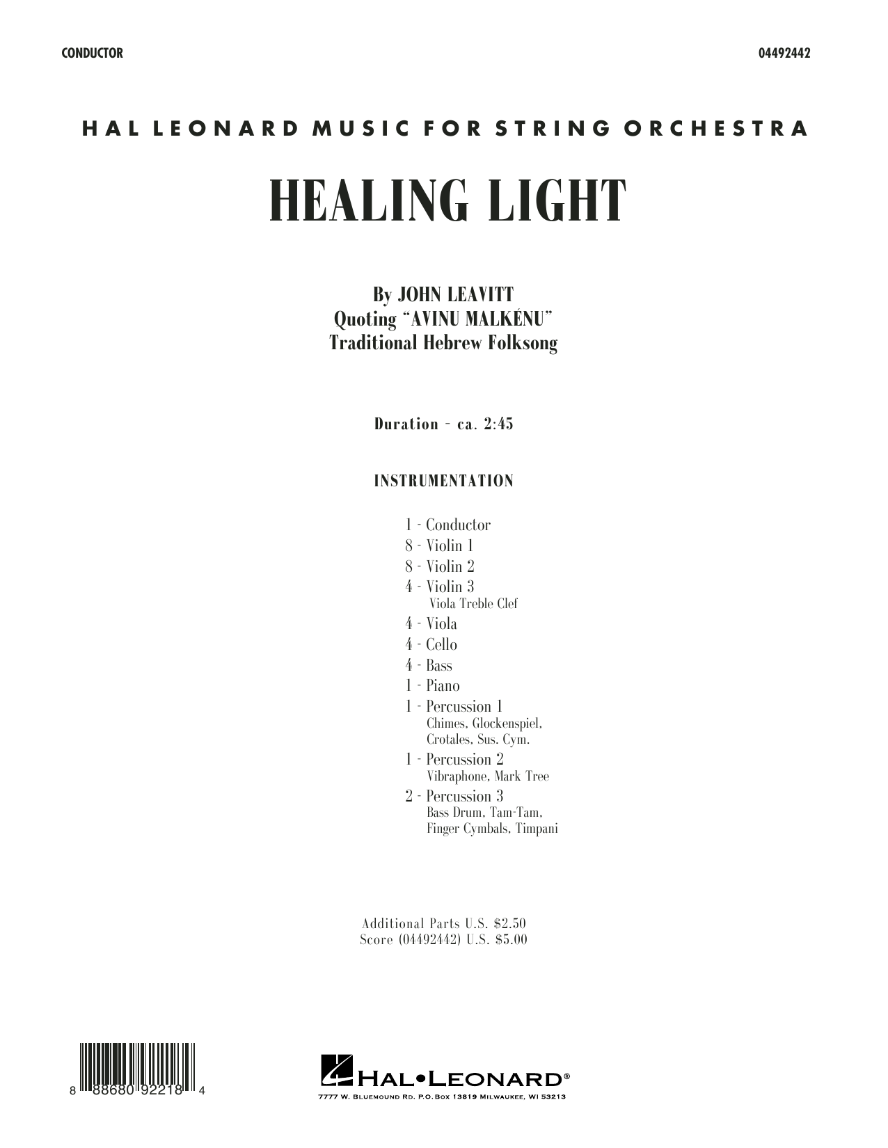 John Leavitt Healing Light - Conductor Score (Full Score) sheet music preview music notes and score for Orchestra including 6 page(s)