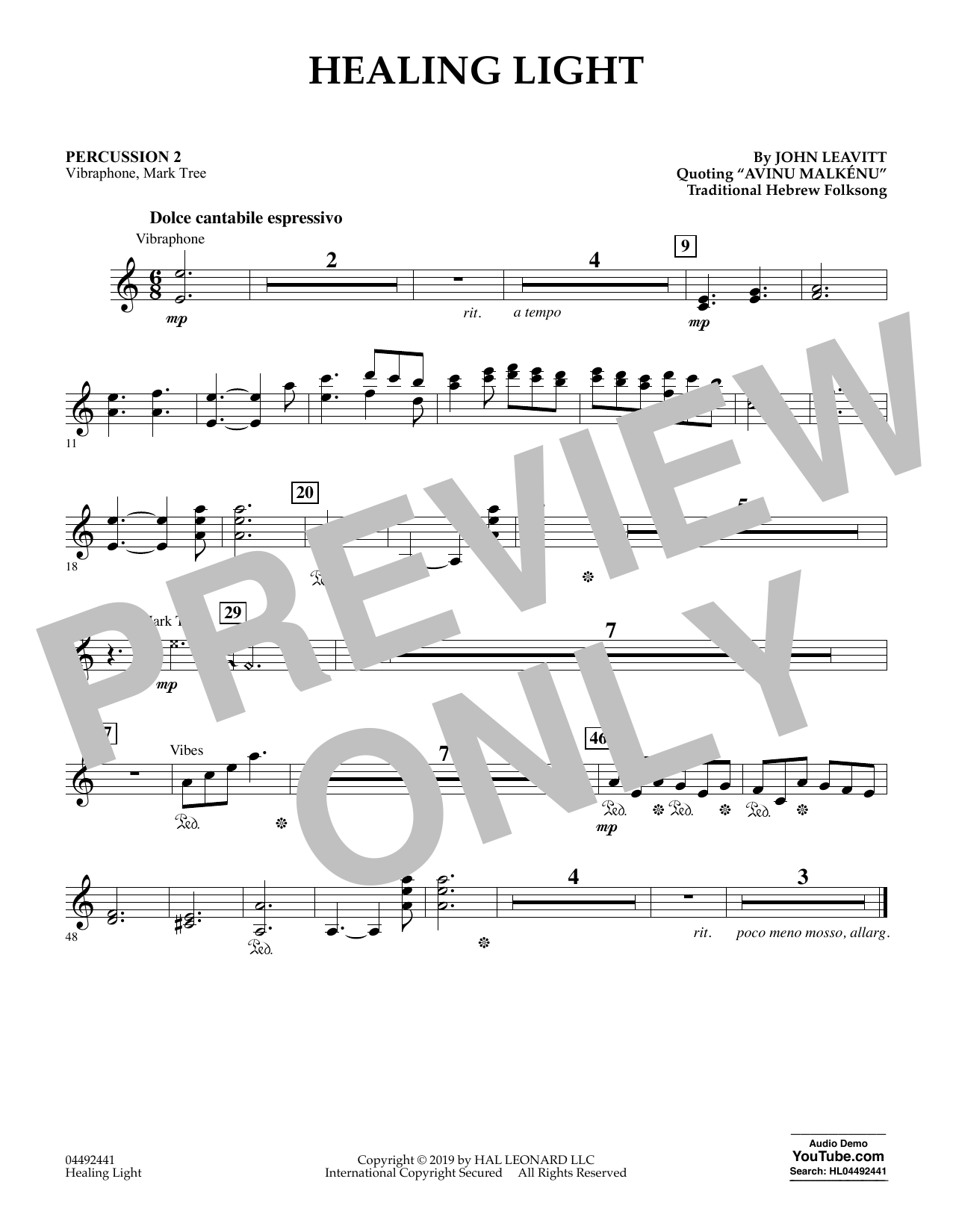 John Leavitt Healing Light - Percussion 2 sheet music preview music notes and score for Orchestra including 1 page(s)