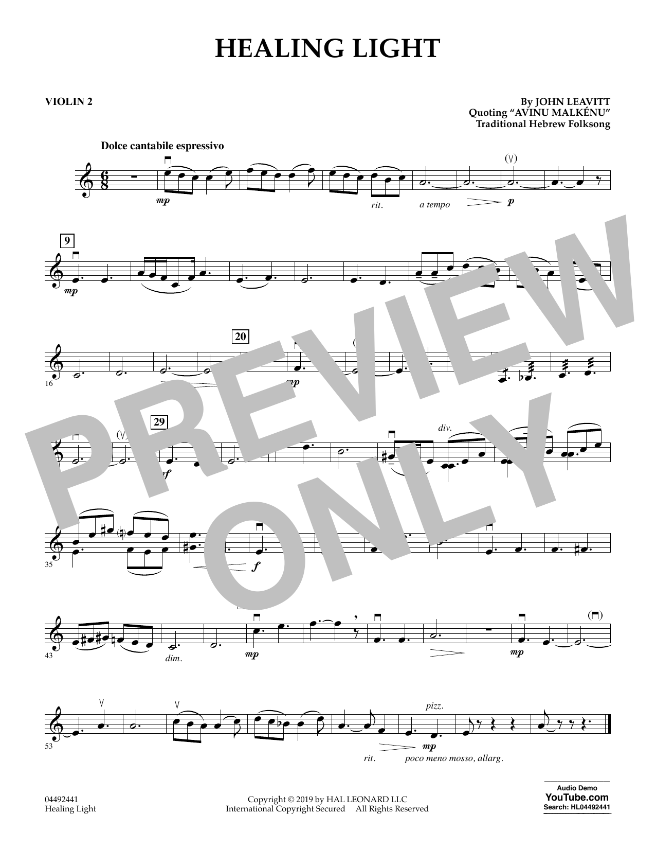 John Leavitt Healing Light - Violin 2 sheet music preview music notes and score for Orchestra including 1 page(s)