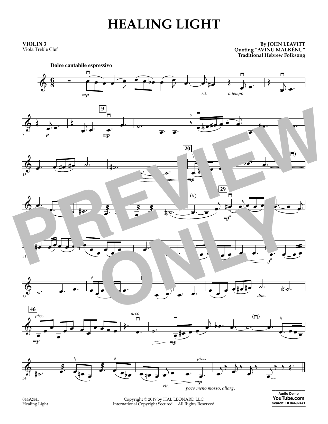 John Leavitt Healing Light - Violin 3 (Viola Treble Clef) sheet music preview music notes and score for Orchestra including 1 page(s)