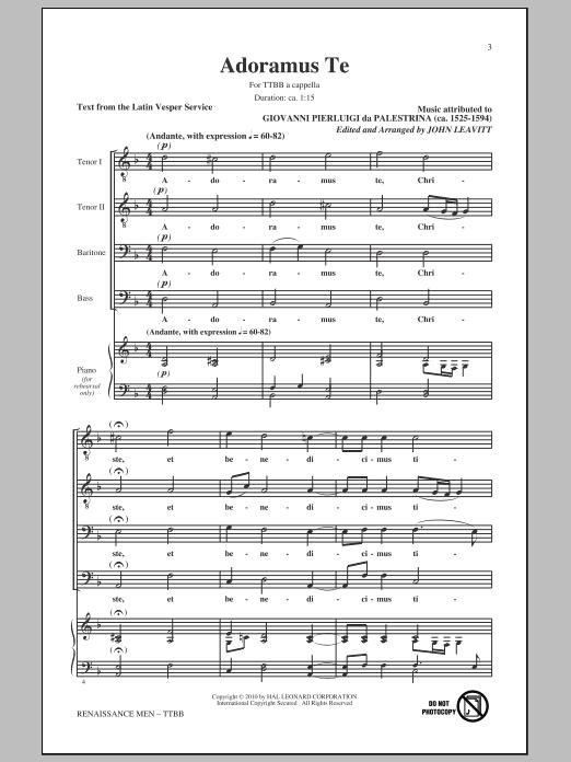 Giovanni Palestrina Renaissance Men (arr. John Leavitt) sheet music preview music notes and score for TTBB including 23 page(s)