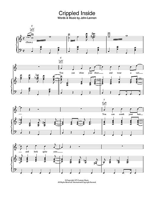John Lennon Crippled Inside sheet music notes and chords