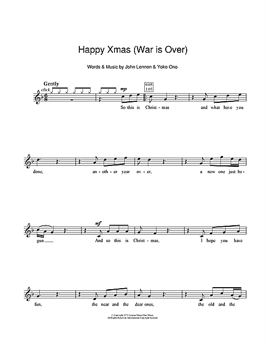 John Lennon Happy Xmas (War Is Over) sheet music preview music notes and score for Guitar Tab including 5 page(s)