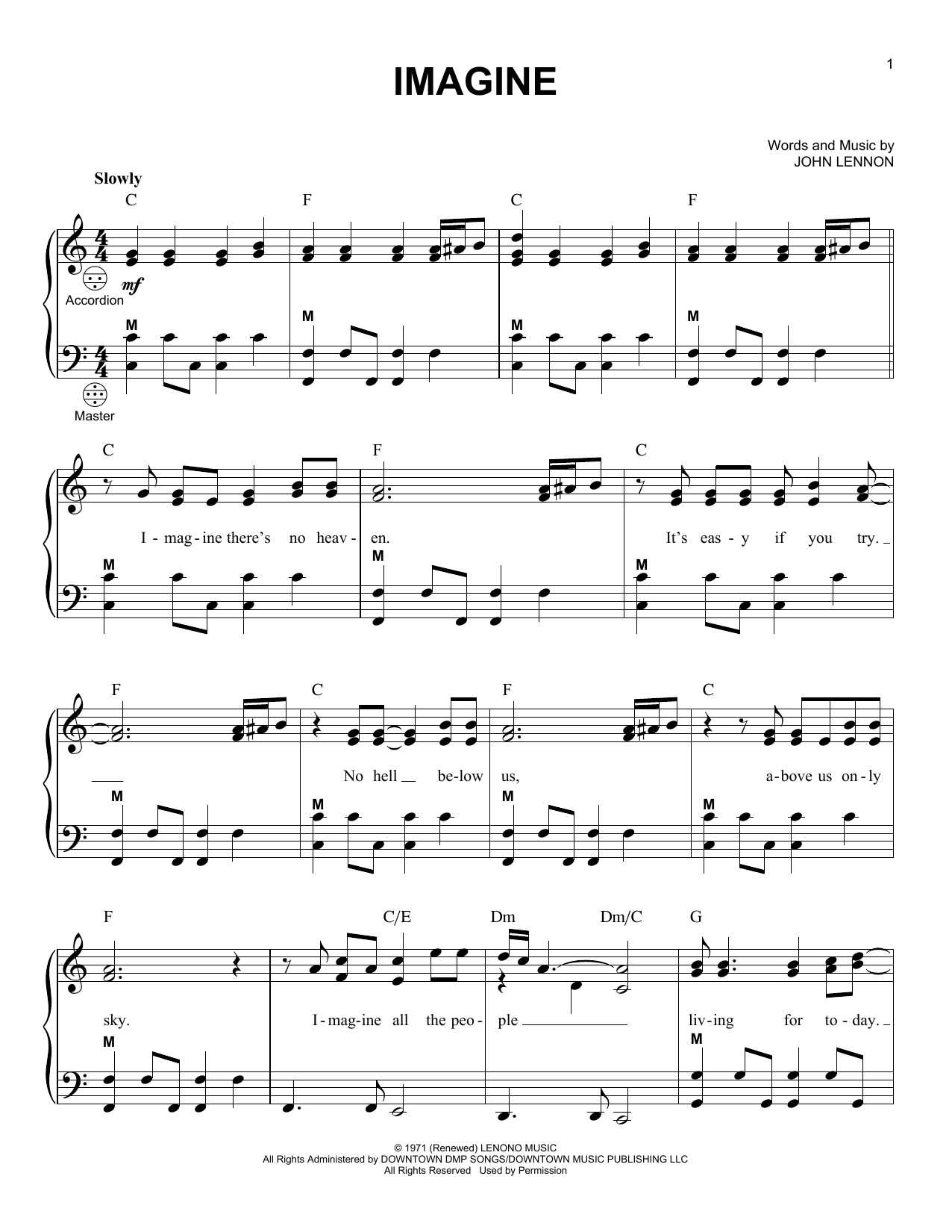 John Lennon Imagine sheet music preview music notes and score for Guitar Tab including 4 page(s)