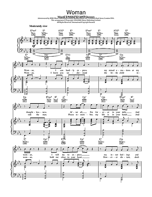 Download John Lennon 'Woman' Digital Sheet Music Notes & Chords and start playing in minutes