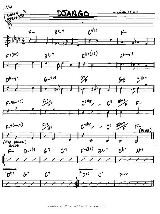 Download John Lewis 'Django' Digital Sheet Music Notes & Chords and start playing in minutes