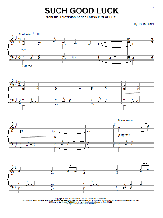 John Lunn Such Good Luck sheet music notes and chords